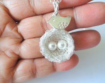 Silver and White Pearl Birds Nest Necklace, mom of twins,nest necklace,Birds nest pendant ,necklace, 2 eggs on a nest,baby shower gift