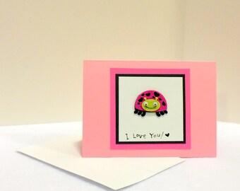 I Love You Valentine's Day Ladybug Card with envelope