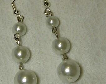 "Cynthia Lynn ""SIMPLE ELEGANCE"" Graduated White Glass Faux Pearl Drop Earrings 1.75"""