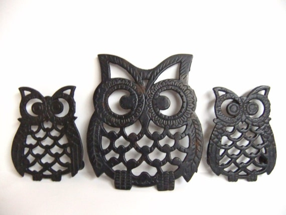 Black Owl Trivets Owl Wall Decor Hanging Owl Home
