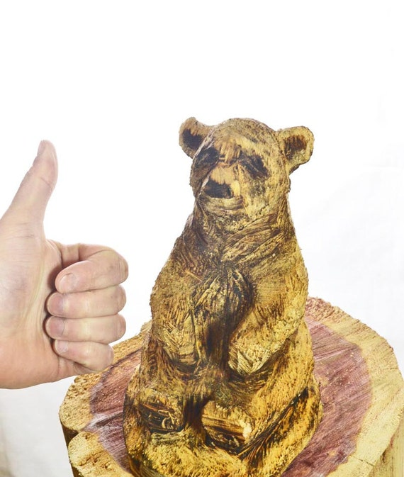 Bear chainsaw carving little wood sculpture by joshcarteart
