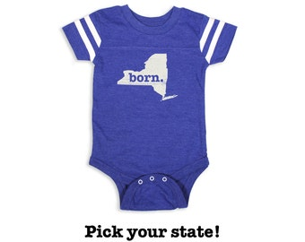 Home State Apparel Born Baby Bodysuit in Football Blue