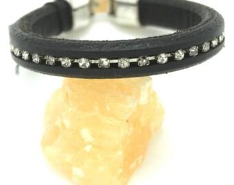 Black Leather Rhinestone  Bracelet