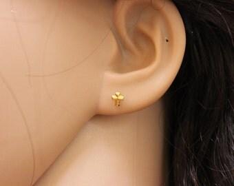 Gold cross Stud Earrings, tiny cross earrings, cross stud earrings, children earrings, baby earrings, religious.