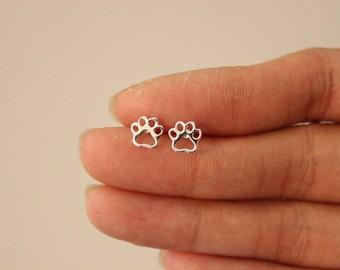 Sterling silver dog paw earrings, stud earrings, silver stud earrings, puppy, cute earrings, tiny studs, children earrings, teen,