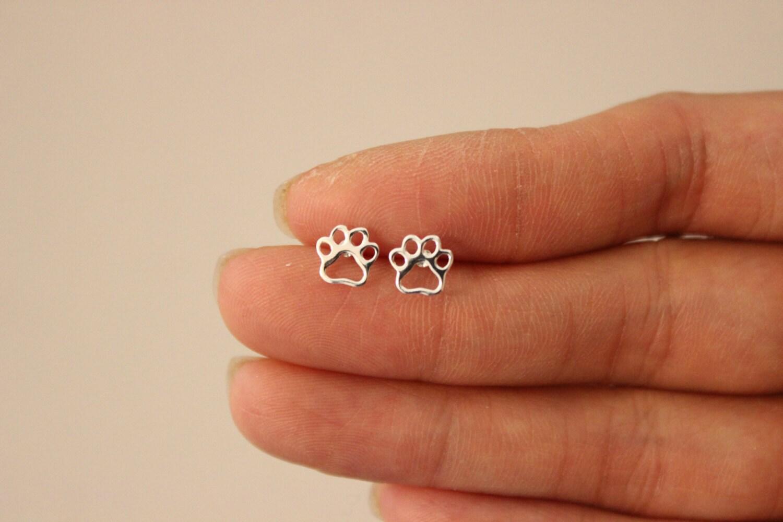 sterling silver dog paw earrings stud earrings silver stud. Black Bedroom Furniture Sets. Home Design Ideas