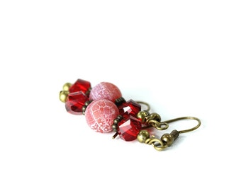 Red Agate Earrings, Red Crystal Earrings, Red Earrings, Fire Agate Earrings