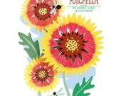 "Gaillardia Pulchella ""Indian Blanket"" Flower Oklahoma State Wildflower Illustrated Print- 8x10 Limited Edition"