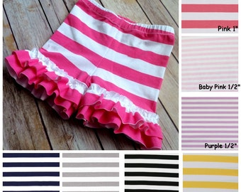 Striped Ruffle Shorties 6 months- girls 8.  (8 color options)