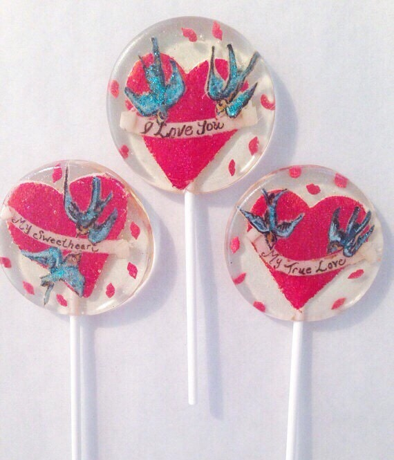 3 Valentine's Day Birthday Wedding Party Favors Lollipops With Red Glittered Marzipan Hearts, Birds, And Scrolls