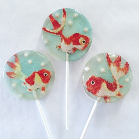 3 Natural Blueberry Flavored Hand Painted Marzipan Goldfish Lollipops