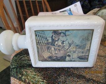 Vintage J W Dant Boston Tea Party Americana Collection Bourbon Bottle Decanter White Milk Glass Decanter,