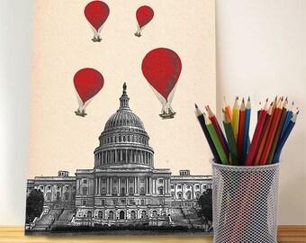 US Capitol Building  Red Hot Air Balloons Digital Illustration Drawing Poster Digital Print Wall Art Wall Décor Wall Hanging