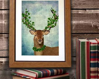 The Green King - Deer Art Deer Print Digital Stag Illustration Wall Decor Wall hanging Wall Art Stag Picture Deer Illustration Painting