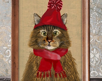 Maine Coon Cat and Woolly Hat, Maine Coon Cat poster, ginger cat wall decor cat illustration cat picture cat gift cat lover cat print