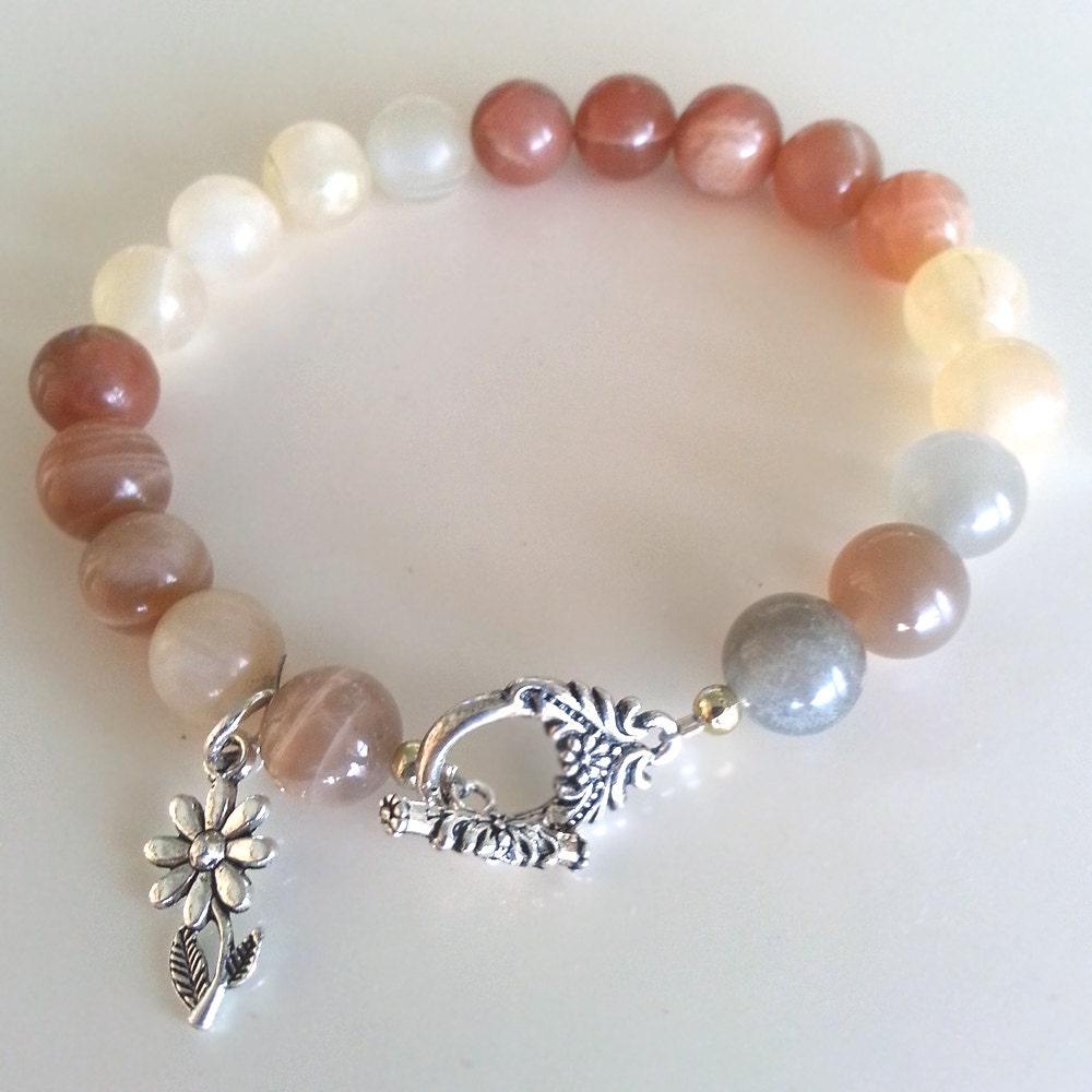 Bracelet Moonstone Peach Gray Gemstone Sterling by Biggirlzz