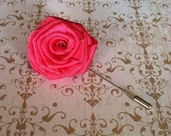 Men's Rose Flower Lapel Pin Wedding Boutonniere  Corsage Pink