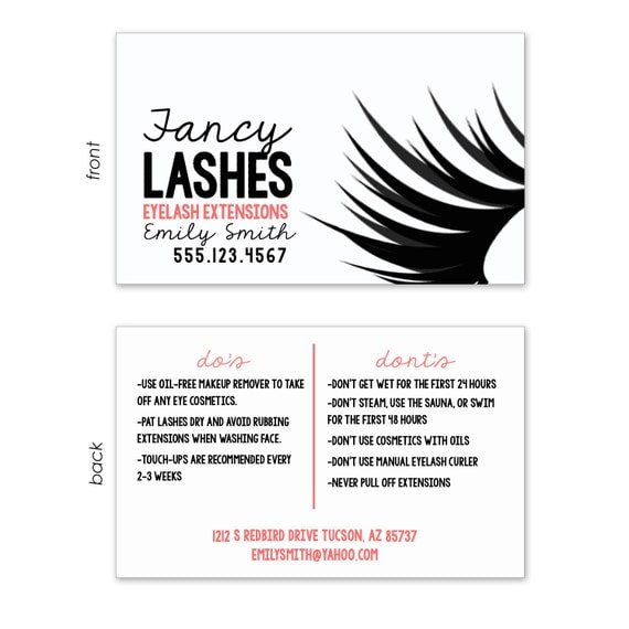 Items similar to customized business card for eyelash extensions black and white with coral for Lash extension business cards