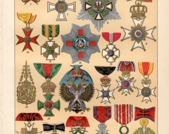 1898 medals orders decorations antique print vintage lithograph military orders - Military Decorations