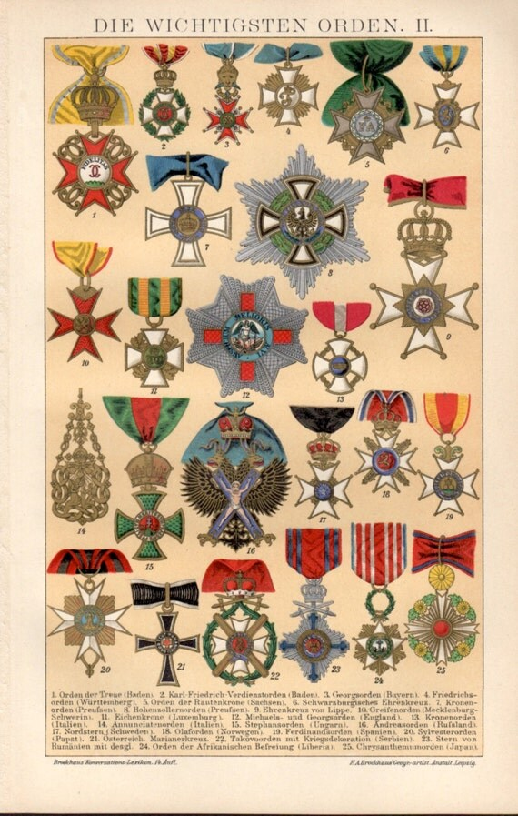 1898 medals orders decorations antique print vintage for Army awards and decoration
