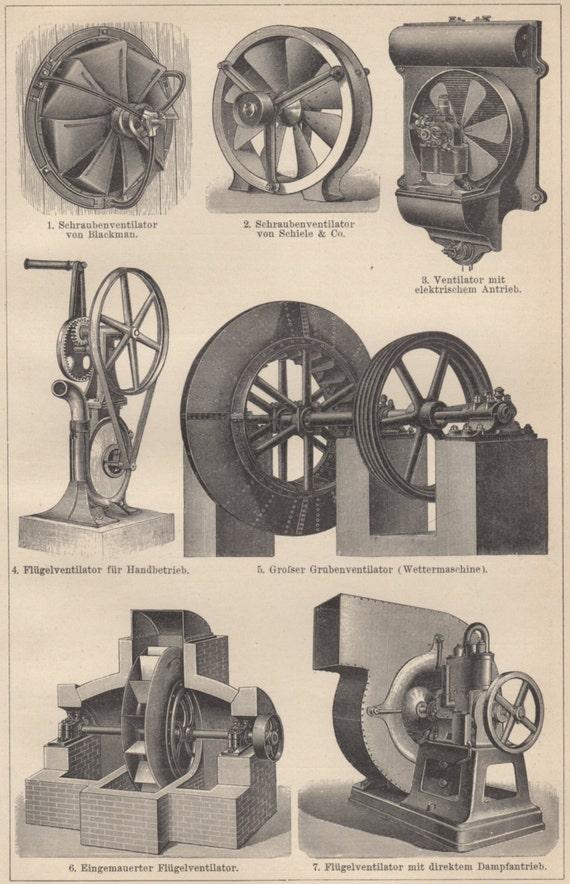 Industrial Ventilation Book : Old ventilation systems industrial fan antique print