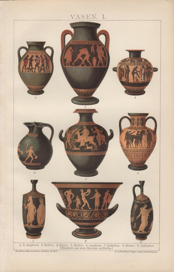 1898 ceramica greca antica stampa litografia d 39 epoca for Vasi antica grecia