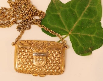 Vintage Estee Lauder Solid Perfume Pendant Necklace Purse