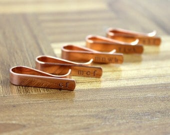 Groomsmen Gift Five (5) Personalized Copper Tie Clips / Monogram Tie Clip / Custom Tie Clip / Tie Bar / Father's Day Gift / Free Shipping
