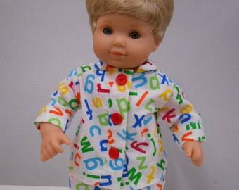 Alphabet Itty Bitty or Twin Doll Pajamas