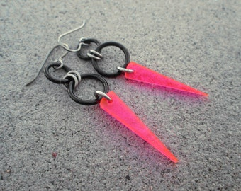 Pink Earrings, Spike Earrings, Neon Pink Jewelry, Neon Earrings, Hypoallergenic Earrings, Neon Pink Earrings, Pink and Black Earrings