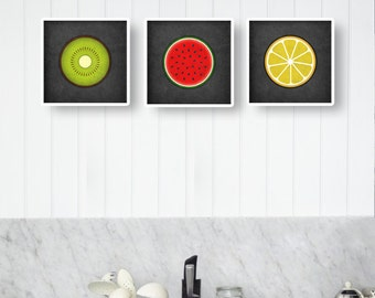 Set of 3 kitchen prints. Fruits kitchen prints watermelon poster kiwi poster lemon poster fruit print fruit poster housewarming present