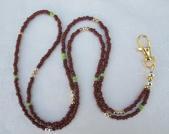 Brown Gold , Silver and a bit of Green Lanyard. Handmade Beaded ID Badge Holder. Glass beads. Necklace ID Holder. Brown ID badge holder.