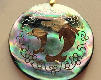 Large Abalone and Gold Vermeil Double Dolphin Pendant - Big Happy Dolphins Pendant