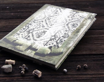 "Hand bound notebook, journal, diary, old journal diary with an ornament: ""Reflections"""