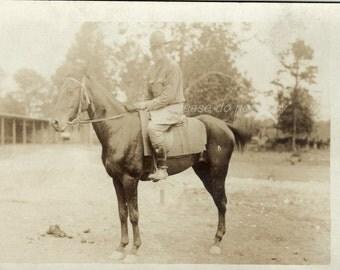 Vintage Photo Postcard ~ WWI era soldier on horeback