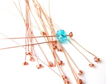 10 Fancy Head Pins, Knotted Headpins, Copper Head Pins, Headpins, Copper Wire,  26 gauge Handmade Jewelry findings, 3 Inch Triple Knotted