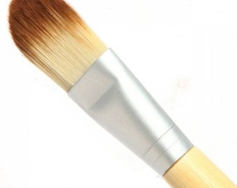 VEGAN FOUNDATION BRUSH Bamboo Handle Synthetic Bristles Vegan Makeup Concealer Brush
