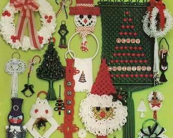 Vintage Tis The Season To Be Knotting Macrame Book Patterns for Christmas Decorations and Ornaments