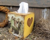 Rustic Wooden Napkin Holder-Wooden Tissue Box-Rustic Country Kitchen decor- Farmhouse Style- Decoupage Tissue Box