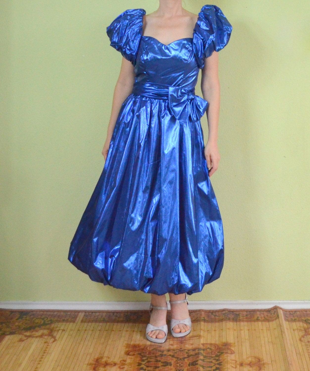 Vintage Wedding Dresses 80s: Vintage 80s Prom Dress Blue Metallic Cocktail Dance Party