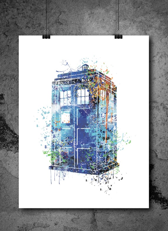 SALE! Tardis Print, Tardis Art Watercolor, Tardis painting, Dr.who poster, dr.who tardis illustration, blue tardis artwork, police box art