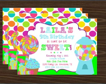Candyland Theme Invitation