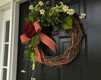Summer floral wreath, Summer door wreath, wreaths, front door wreath, spring wreath