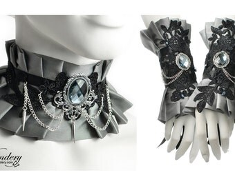 Silver gray fabic jewelry set - Ruffle choker necklace, Fantasy cuff bracelet design, Victorian Neck corset with spikes, Floral black lace