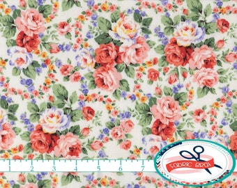 SHABBY ROSE Fabric by the Yard, Fat Quarter Peach Floral Fabric Shabby Chic Fabric Apparel Fabric Quilting Fabric 100% Cotton Fabric w7-10