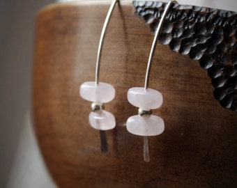 EARRINGS: Rose Quartz, Sterling Silver Marquis, Handcrafted Artisan Quality