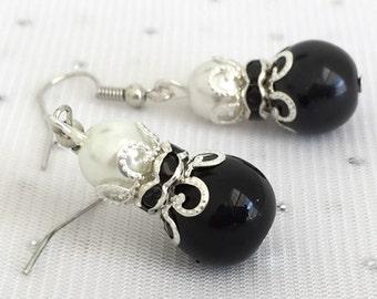 Black and Ivory Bridesmaid Pearl Rhinestone Earrings, Black Wedding Jewelry, Bridesmaid Gift, Black Pearl Jewelry, Black Beaded Jewelry
