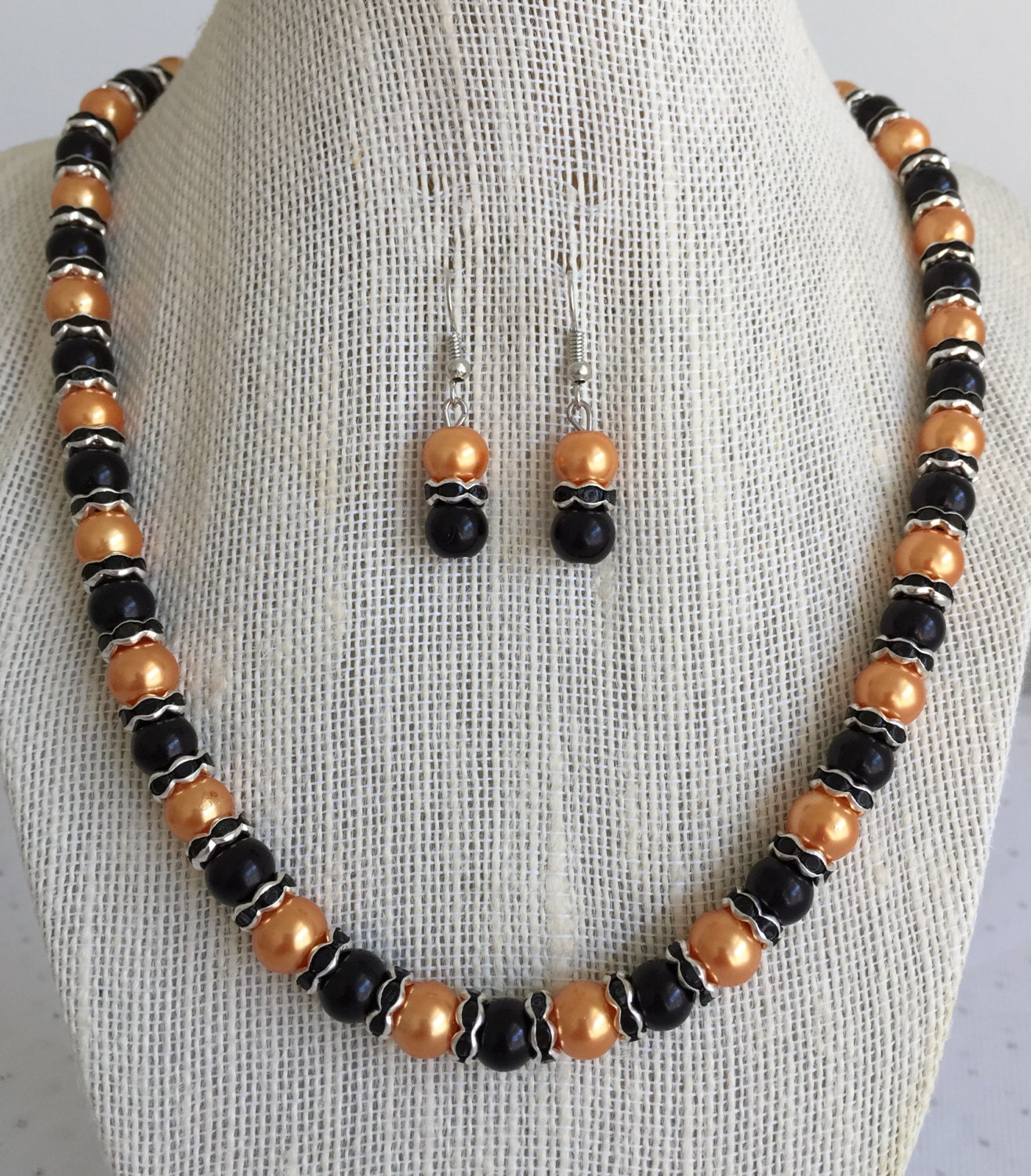orange and black pearl jewelry set halloween jewelry set. Black Bedroom Furniture Sets. Home Design Ideas