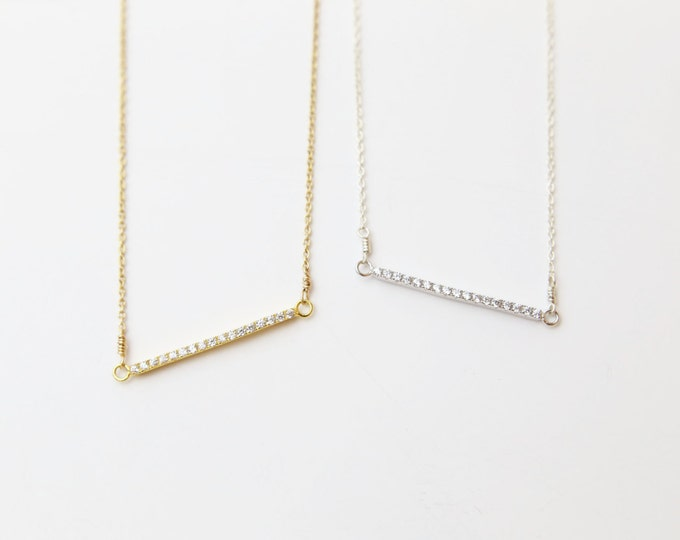 Gold bar necklace with cz, silver necklace with cz, Minimalist necklace Perfect for layering, everyday necklace  EN029
