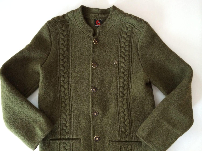 tyrol autrichien veste manteau en laine bouillie vert loden. Black Bedroom Furniture Sets. Home Design Ideas